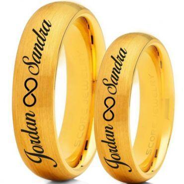 COI Gold Tone Tungsten Carbide Custom Engraving Ring-TG5016