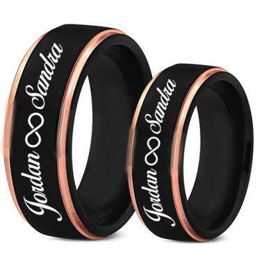 COI Tungsten Carbide Black Rose Custom Engraving Ring-TG5018