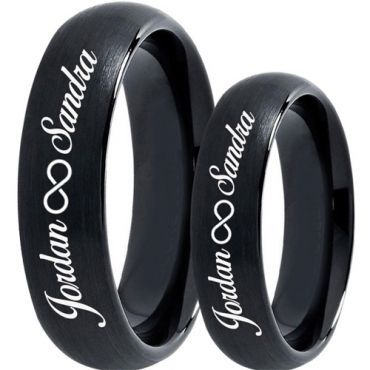 COI Black Tungsten Carbide Ring With Custom Engraving-5019