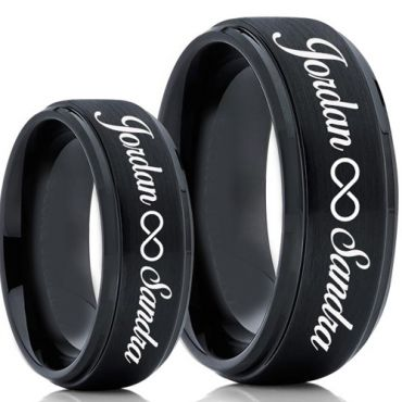 COI Black Tungsten Carbide Ring With Custom Engraving-5020