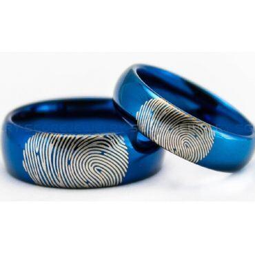 COI Blue Tungsten Carbide Custom Fingerprint Ring-TG5021
