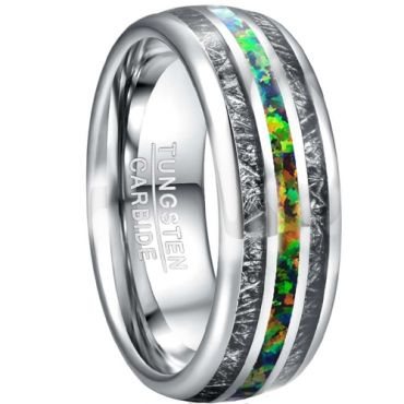 COI Tungsten Carbide Crushed Opal & Meteorite Ring-TG5026