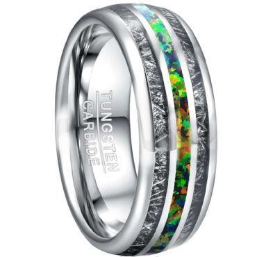COI Tungsten Carbide Crushed Opal & Meteorite Ring-TG5026