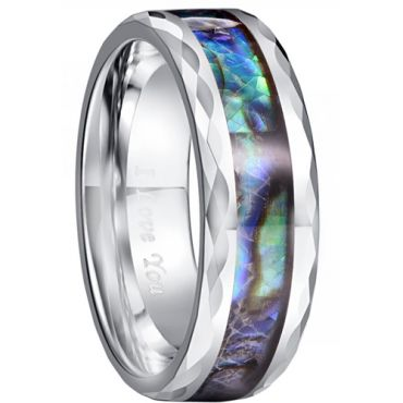 COI Tungsten Carbide Faceted Abalone Shell Ring-TG5030