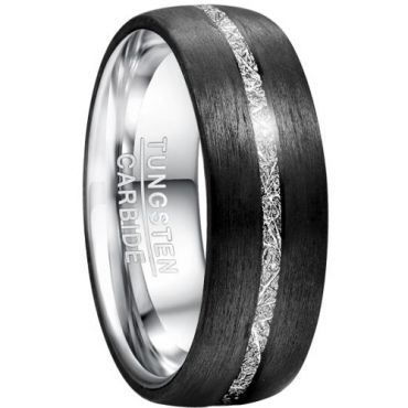 COI Tungsten Carbide Meteorite Cubic Zirconia Ring-TG5034
