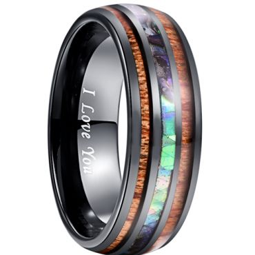 COI Black Tungsten Carbide Abalone Shell & Wood Ring-5038