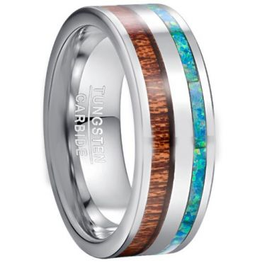 COI Tungsten Carbide Crushed Opal & Wood Ring-TG5039
