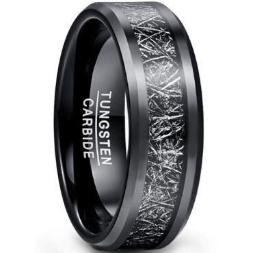 COI Black Tungsten Carbide Meteorite Ring-TG5040