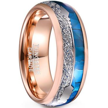 COI Rose Tungsten Carbide Crushed Opal & Meteorite Ring-TG5043