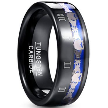 COI Tungsten Carbide Black Blue Mo Anam Cara Ring-TG5045