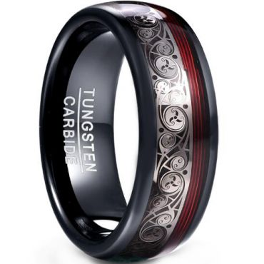 COI Black Tungsten Carbide Ring With Red Grooves-TG5046