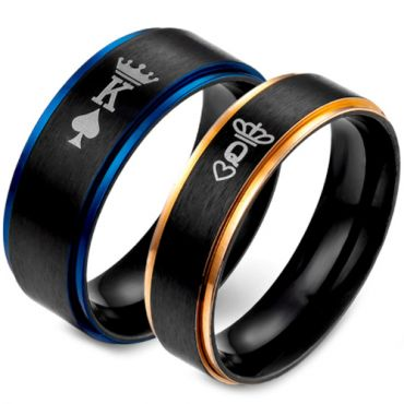 *COI Tungsten Carbide Black Blue/Rose King Queen Crown Ring-TG5053