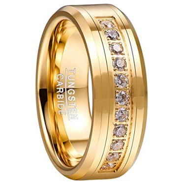 COI Gold Tone Tungsten Carbide Cubic Zirconia Ring-TG5057