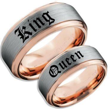 *COI Tungsten Carbide Rose Silver King Queen Ring-TG5059