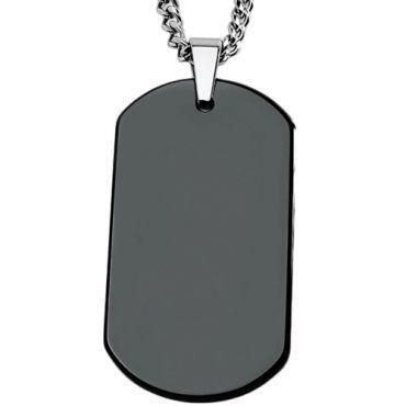 COI Black Tungsten Carbide Dog Tag Pendant-TG5066