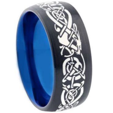 COI Tungsten Carbide Black Blue Dragon Dome Court Ring-355