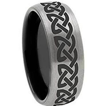 COI Titanium Black Silver Celtic Dome Court Ring - 3106