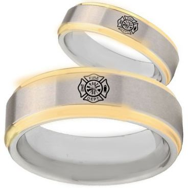 *COI Tungsten Carbide Gold Tone Silver Firefighter Ring - TG3094
