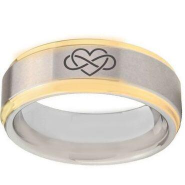 *COI Tungsten Carbide Gold Tone Silver Infinity Heart Ring-TG5108