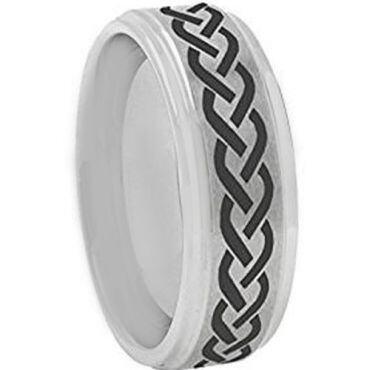 *COI Tungsten Carbide Celtic Step Edges Ring - TG3199