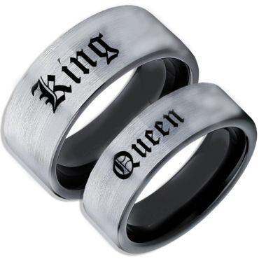 *COI Tungsten Carbide Black Silver King Queen Ring-TG5102