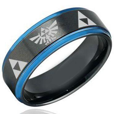 COI Tungsten Carbide Black Blue Legend of Zelda Ring-TG5103