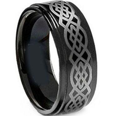 COI Black Tungsten Carbide Celtic Step Edges Ring-TG5106