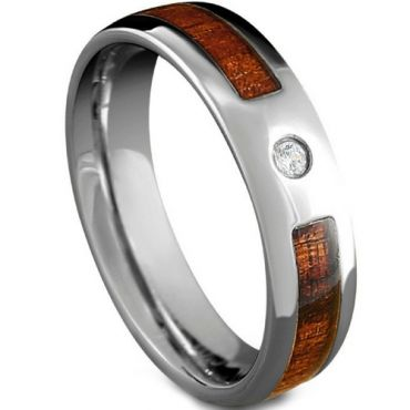COI Tungsten Carbide Wood Ring With Cubic Zirconia-TG5185