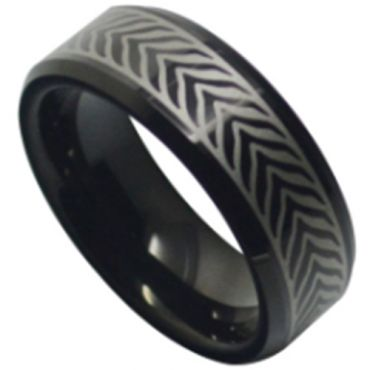 COI Black Tungsten Carbide Celtic Beveled Edges Ring-TG5186