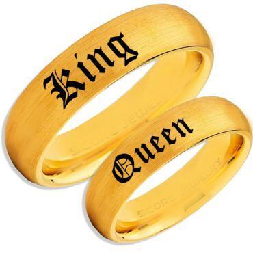 *COI Gold Tone Tungsten Carbide King Queen Ring-TG5110