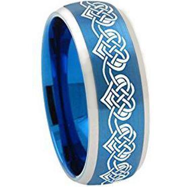 *COI Tungsten Carbide Blue Silver Hearts Ring-TG5116