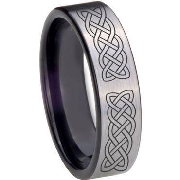 COI Tungsten Carbide Black Silver Celtic Pipe Cut Ring-TG5125