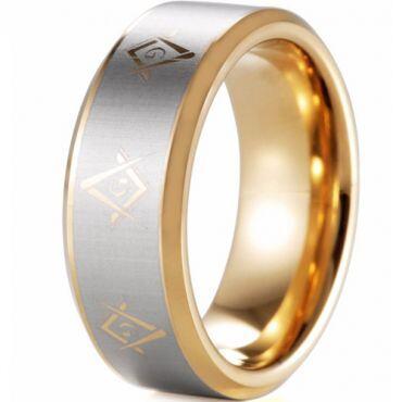 COI Gold Tone Tungsten Carbide Masonic Beveled Edges Ring-5127