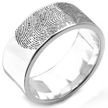 COI Tungsten Carbide Ring With Custom Fingerprint-TG5132