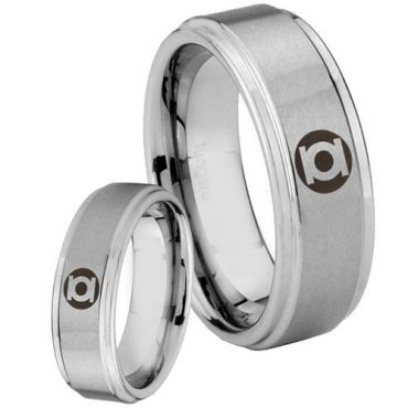 COI Tungsten Carbide Green Lantern Step Edges Ring-TG5135