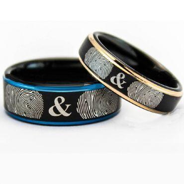 COI Tungsten Carbide Black Rose/Blue Custom Fingerprint Ring-5159