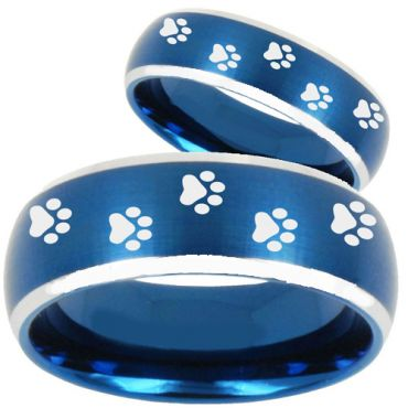 COI Tungsten Carbide Blue Silver Paws Print Ring-TG5139