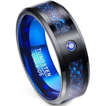 COI Tungsten Carbide Black Blue Dragon Zirconia Ring-TG5140