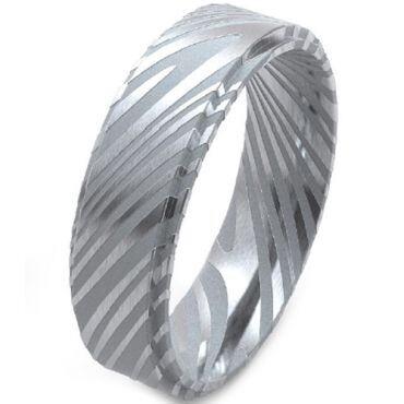 COI Tungsten Carbide Damascus Step Edges Ring-TG5141