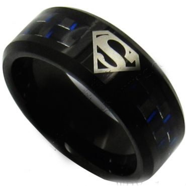 COI Black Tungsten Carbide SuperMan Carbon Fiber Ring-TG5144