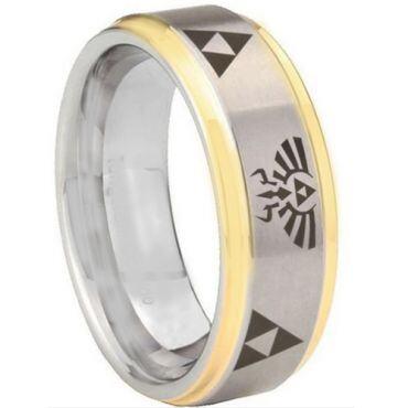 *COI Tungsten Carbide Gold Tone Silver Legend of Zelda Ring-TG5151