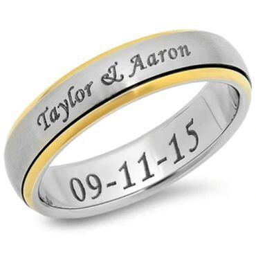 *COI Tungsten Carbide Gold Tone Silver Custom Engraving Ring-5152