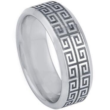 *COI Tungsten Carbide Celtic Beveled Edges Ring-TG5200