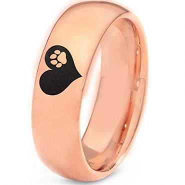 *COI Rose Tungsten Carbide Heart Dome Court Ring-TG5204