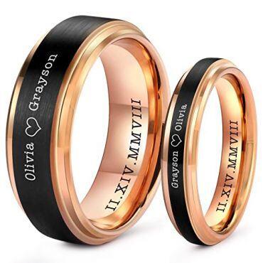COI Tungsten Carbide Black Rose Custom Engraving Ring-TG5205