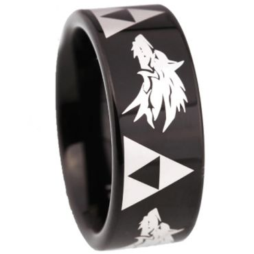 *COI Black Tungsten Carbide Legend of Zelda Wolf Ring - TG5211