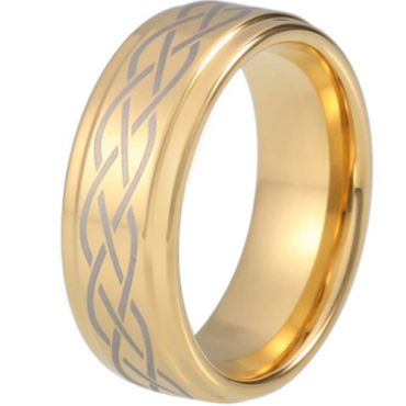 COI Gold Tone Tungsten Carbide Celtic Step Edges Ring - TG5212