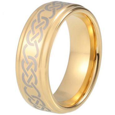 COI Gold Tone Tungsten Carbide Celtic Step Edges Ring - TG5213