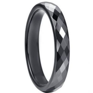 COI Black Tungsten Carbide Faceted Ring-5264