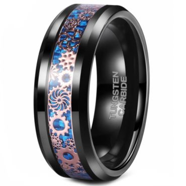 *COI Black Tungsten Carbide Gears Beveled Edges Ring With Blue Carbon Fiber-5500